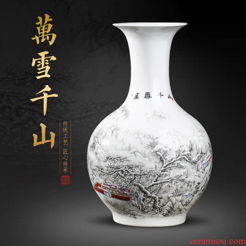 Jingdezhen ceramics powder enamel snow flower decorations study of new Chinese style household vase in the sitting room porch place