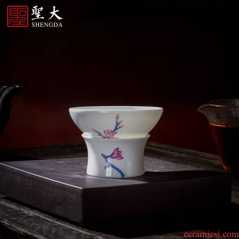 Holy big ceramic) blue and white color bucket hand - made yulan kung fu tea strainer filter fittings of jingdezhen tea service