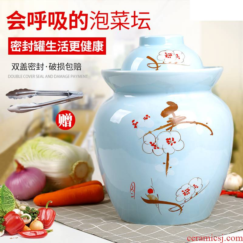 Household pickle jar to thicken the pickle jar sichuan pickle jar preserved pickle ceramic seal cylinder double salted egg