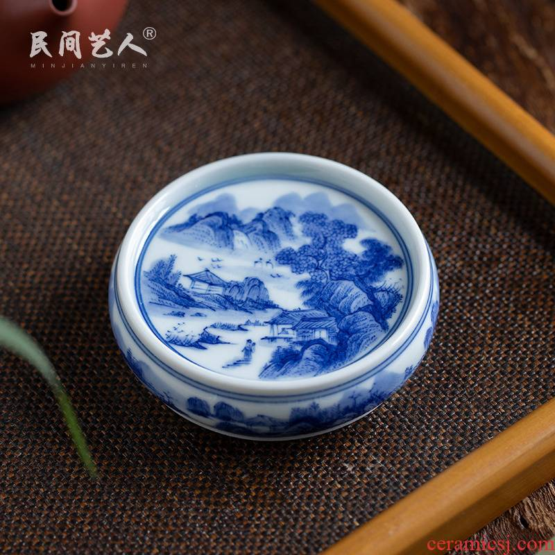 Pure manual hand - made to mackerel landscape tea cover rear cover supporting ceramic lid on blue and white CiHu bearing