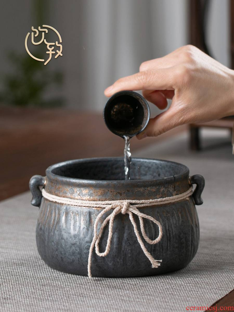 Ultimately responds to coarse pottery gold extra large tea wash to Japanese zen ceramic cup for wash water jar to build water in hot tea water fights