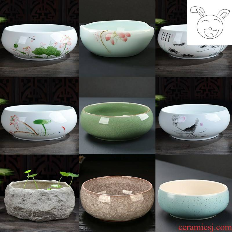 ~ flower box round ceramic copper wire grass flower pot daffodil water lily bowl lotus nonporous money ceramic flower pot.