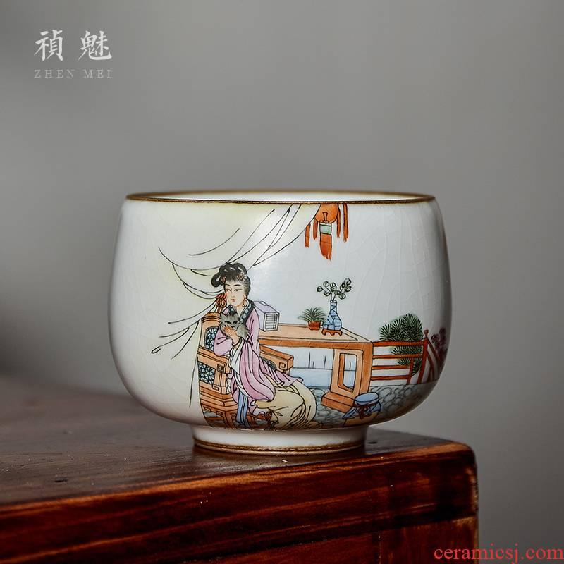 Shot incarnate your up hand - made long Lou qin ke jingdezhen ceramic cups kung fu tea master cup personal single CPU
