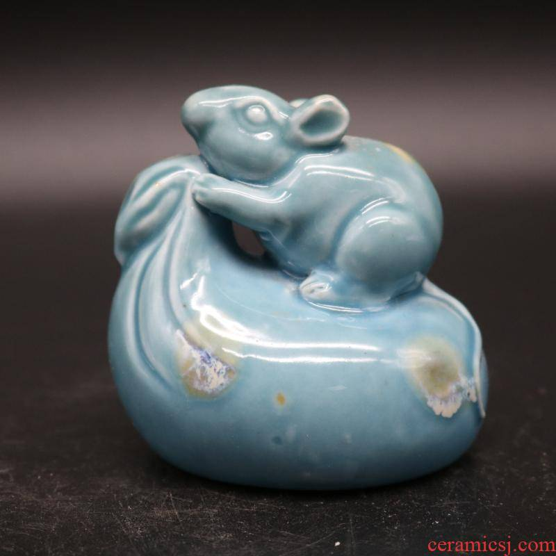 "Jingdezhen up single glaze YanDi purse mice water ""four ceramics crafts calligraphy ink stone"
