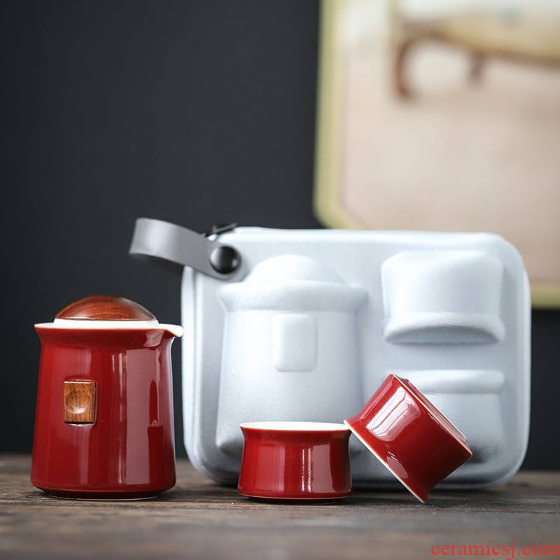 Ya xin Japanese black pottery portable travel tea set kung fu tea teapot teacup of a complete set of ceramic tea set tea tray