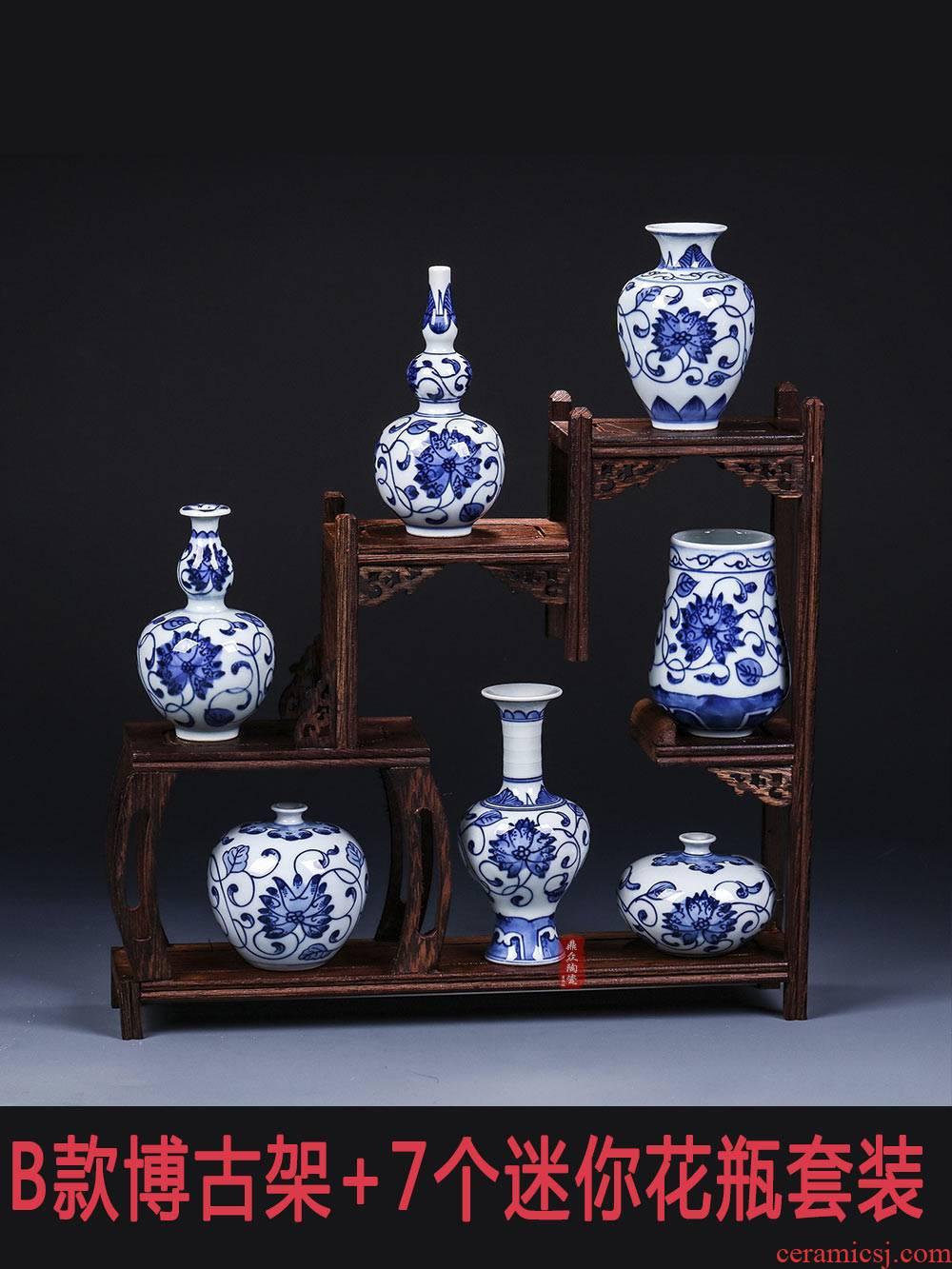Antique hand - made porcelain of jingdezhen ceramics mini floret bottle of flower arranging taking furnishing articles rich ancient frame decorate household