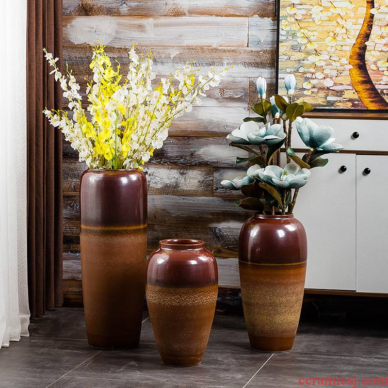 Gagarin retro ceramic floor large vases, sitting room of Chinese style household decorative flower arranging furnishing articles contracted sitting room