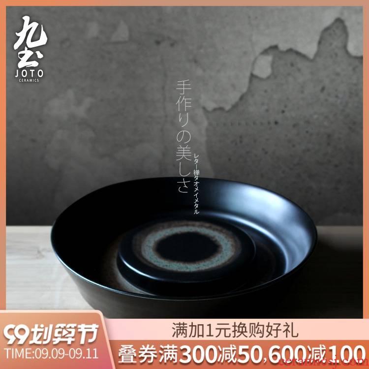 About Nine soil pot bearing iron glaze dry tea table manually jingdezhen stoneware Japanese zen tea tray was dry tea tray was dry terms