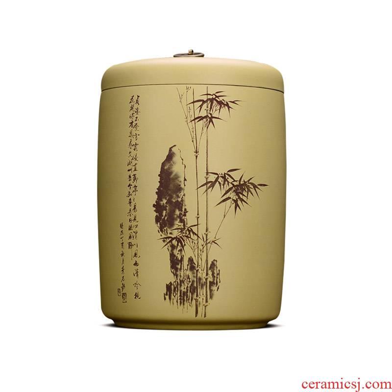 Shadow at yixing purple sand tea pot large manual pu - erh tea storage tanks seal up receives ten cakes tea urn HZ