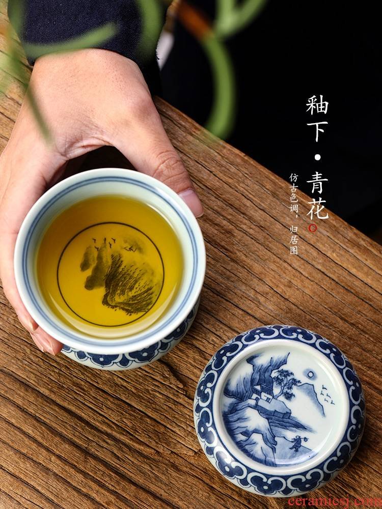 Jingdezhen it buy checking ceramic blue cover cover Japanese hand - made scenery coasters kung fu tea set