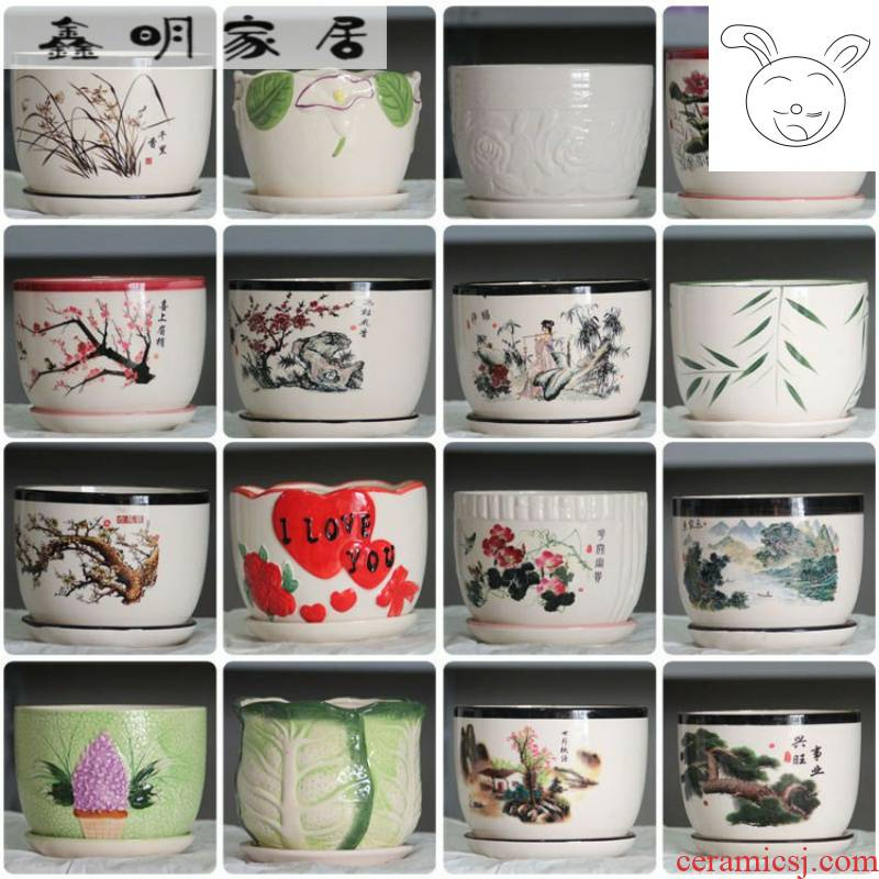 Package aerogrammes about ceramic flower POTS with tray desktop ground flower Chinese wind large flower pot coarse pottery