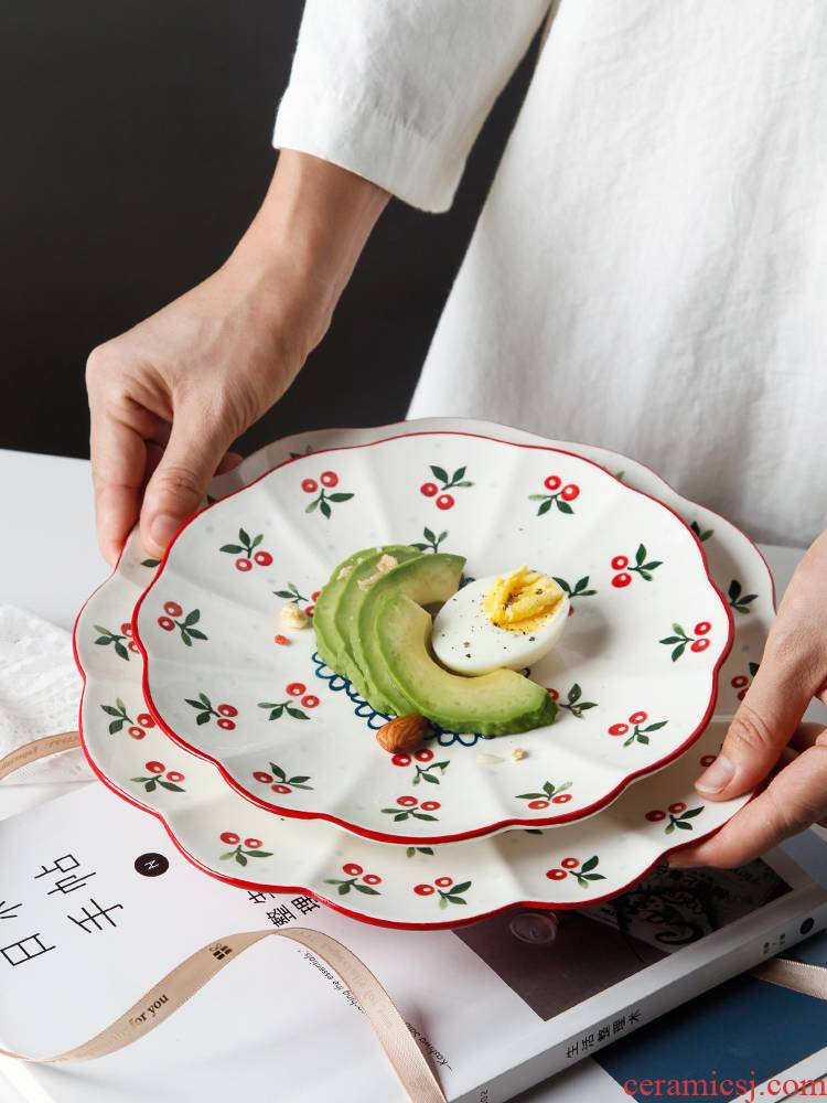 Hand - made cherry 0 creative pastoral wind under the glaze the ceramic plate with lace color round lovely breakfast tray plates