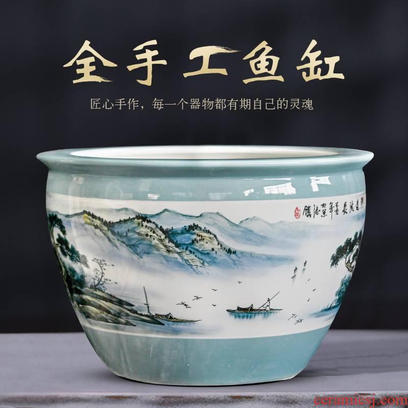 Jingdezhen packages mailed ceramic aquarium 1 meter extra large porcelain jar water lily basin courtyard lotus bowl lotus cylinder cylinder tortoise