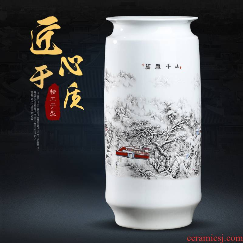 Jingdezhen ceramics powder enamel straight vase furnishing articles flower arranging study calligraphy and painting tube of calligraphy and painting cylinder identifiers sitting room adornment