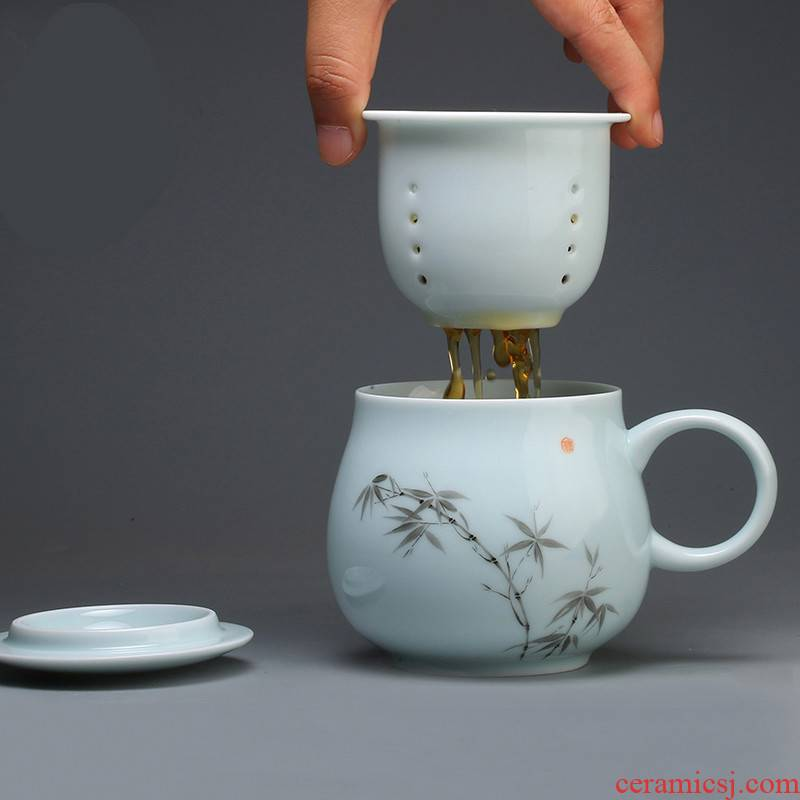 The Poly real scene fine ceramic keller cups with cover filter personal office keller jingdezhen tea water