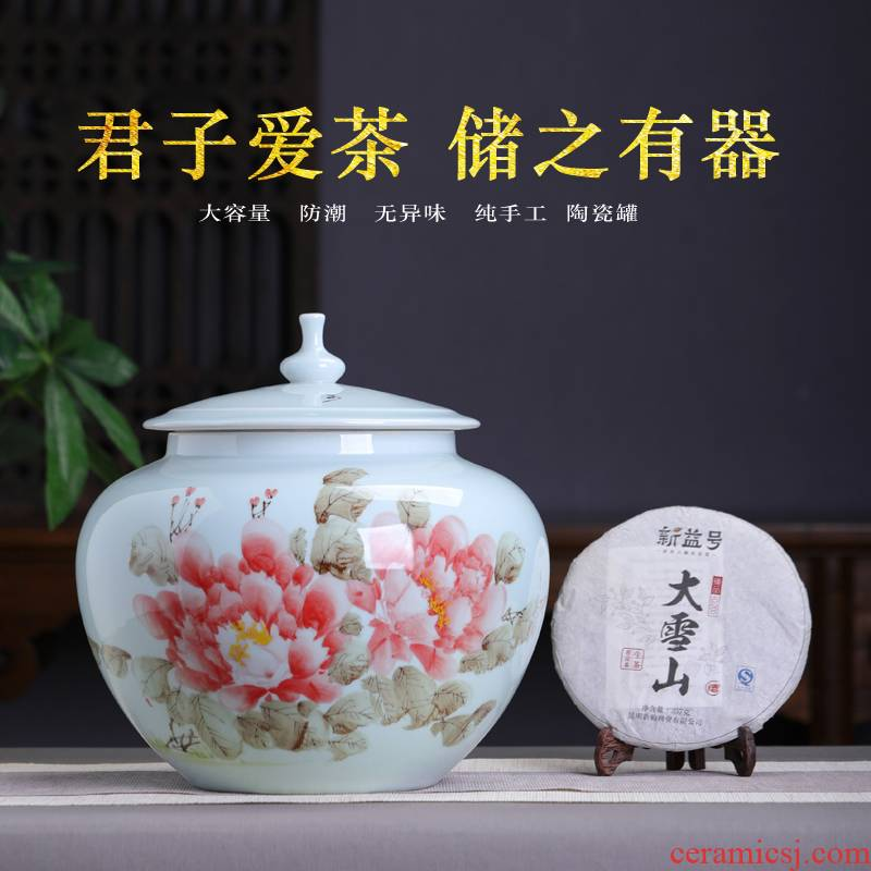 Jingdezhen hand - made ceramic seal tea jar jar with cover moistureproof Chinese pu 'er red, green and white POTS