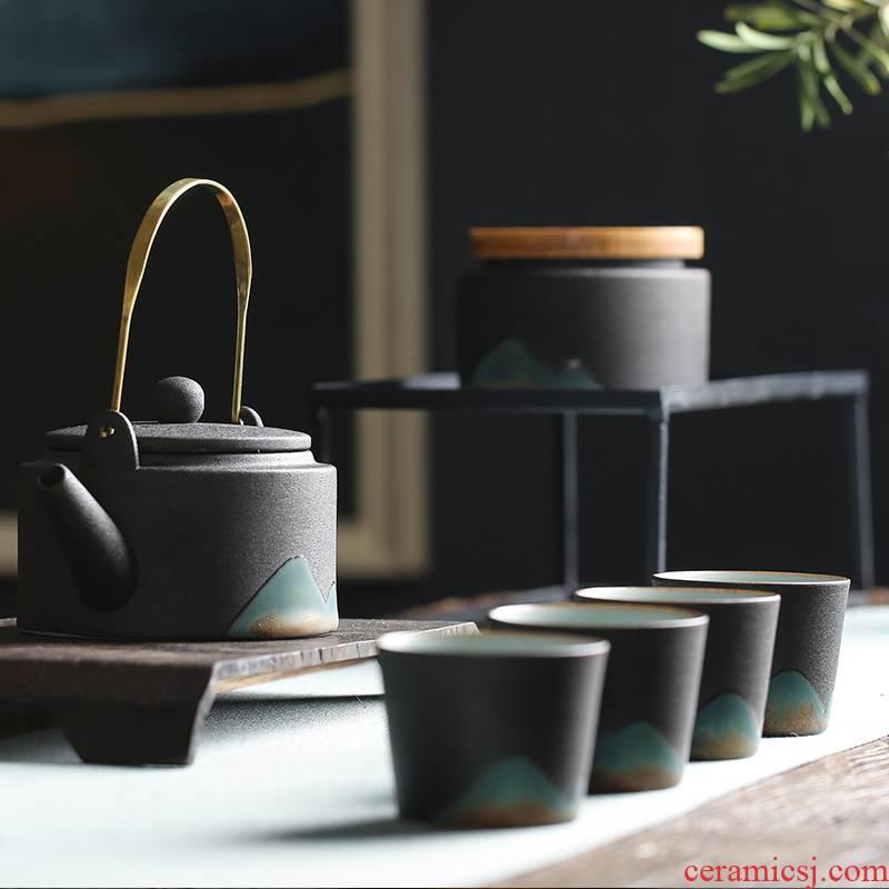 Japanese coarse pottery kung fu tea set suit household zen ceramic teapot household contracted tea gift box girder pot