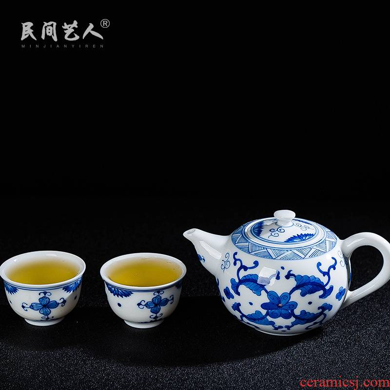 Ceramic tea set small suit a pot of two cups of jingdezhen blue and white contracted household is suing hand - made travel kung fu tea set