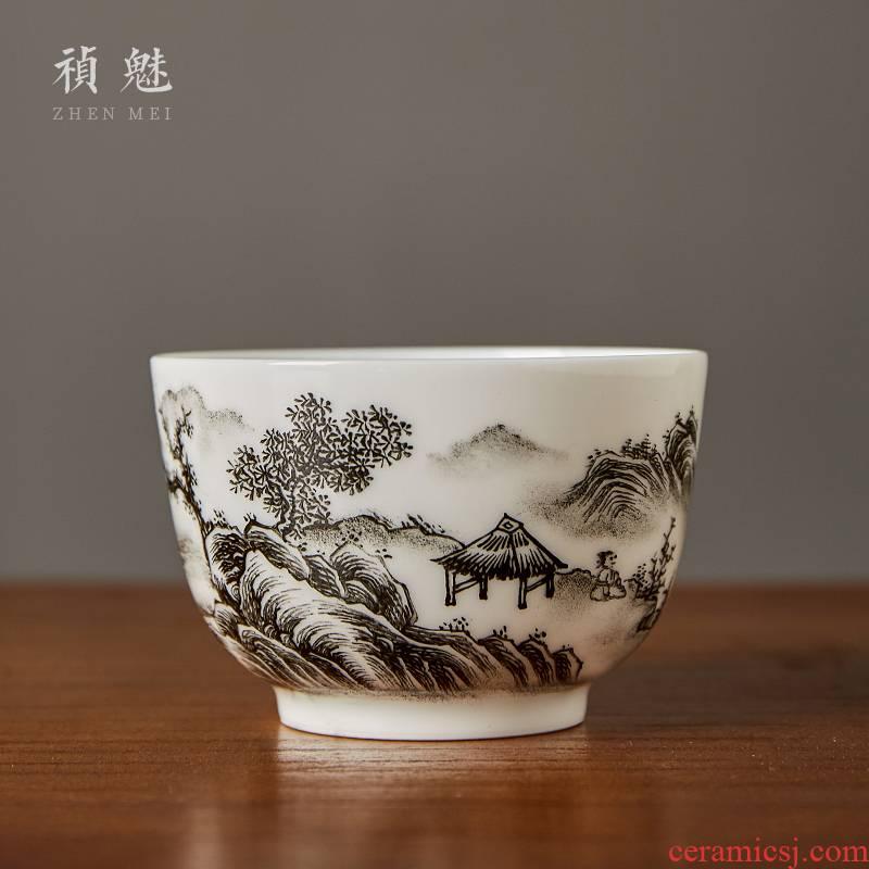 Shot incarnate the jingdezhen ceramic hand - made color ink landscape cup kung fu tea set personal sample tea cup master cup single CPU