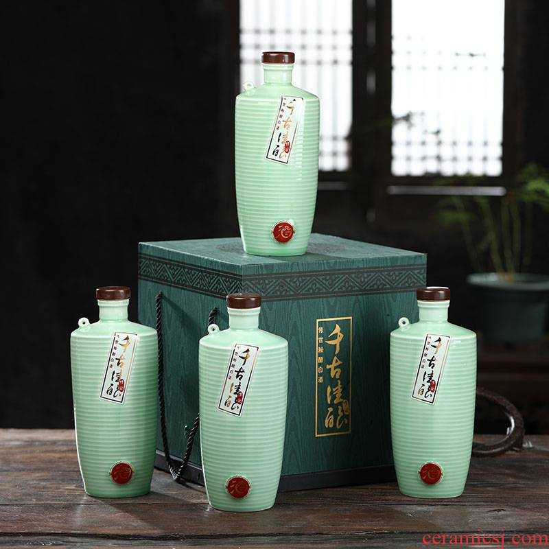 1 kg boxes bottle of jingdezhen ceramic jars wine bottles home wine bottle green glaze creative wine bottle