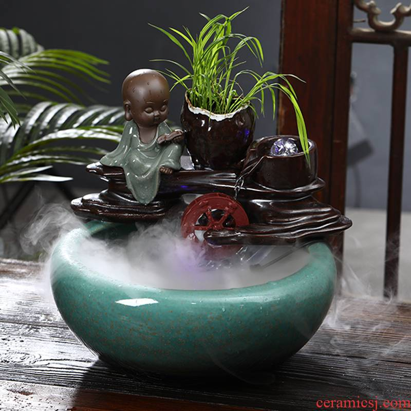 Jingdezhen ceramic water fountain place feng shui plutus aquarium desktop sitting room adornment to raise a goldfish bowl