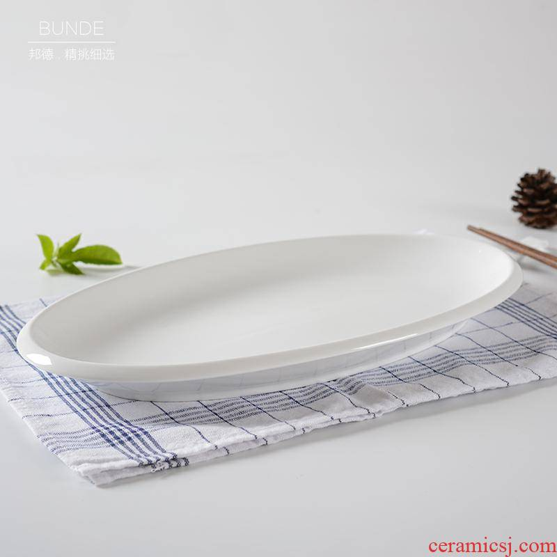 Pure white ceramic fish dish oval large hotel steamed fish home restaurant hotel hotel tableware