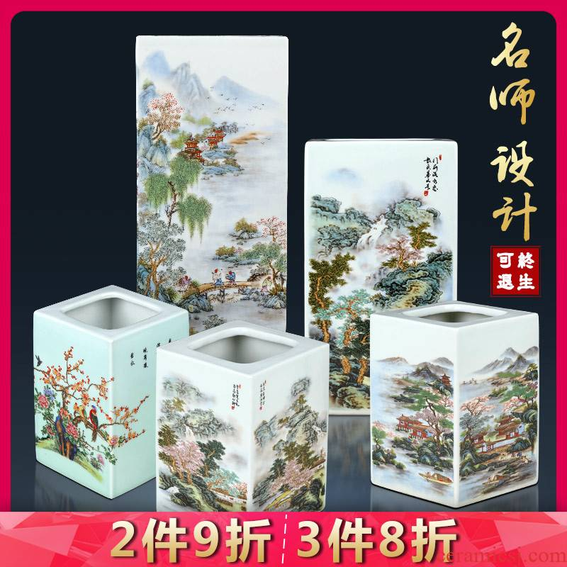 Jingdezhen ceramics powder enamel inlay is antique Chinese style household porch decoration rich ancient frame study office furnishing articles