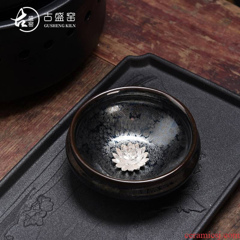 The ancient sheng up new star flower color inlay whitebait lotus tea red glaze, LangHao ceramic kung fu masters cup cup