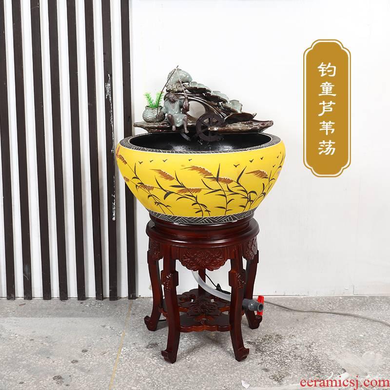 Jingdezhen ceramic circulating water tank filter home sitting room extra large goldfish bowl shui plutus tank