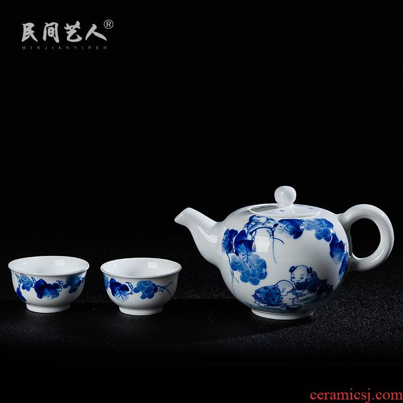 Jingdezhen hand - made porcelain tea set gift box set a pot of tea for 2 2 two cups of kung fu tea simple ceramic