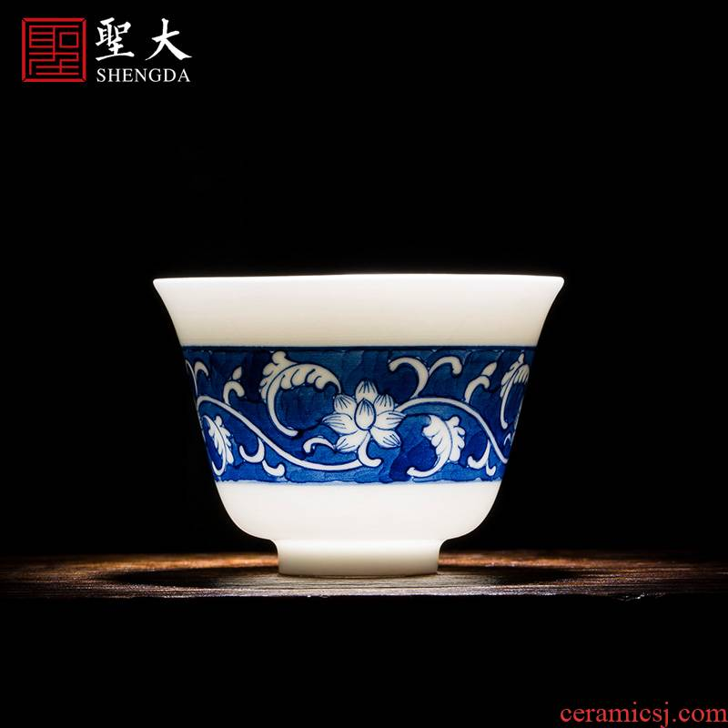 Holy big cup sample tea cup hand - made ceramic kung fu masters cup blue to tie up branches all hand of jingdezhen tea service