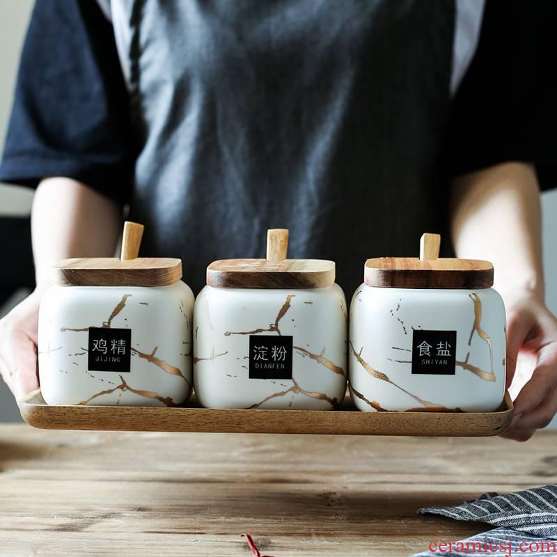 Nordic matte enrolled in marble ceramic sauce seasoning, cooking pot home box of kitchen seasoning spice bottles suit