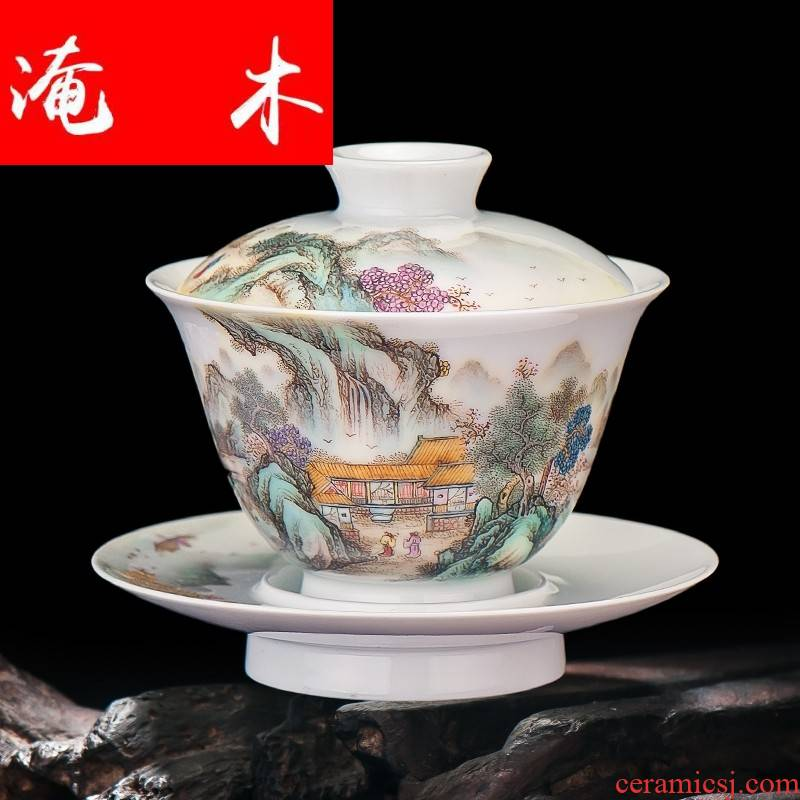 Flooded hand - made wooden jingdezhen ceramics powder enamel archaize color ink landscape three tureen kung fu tea set can be fixed