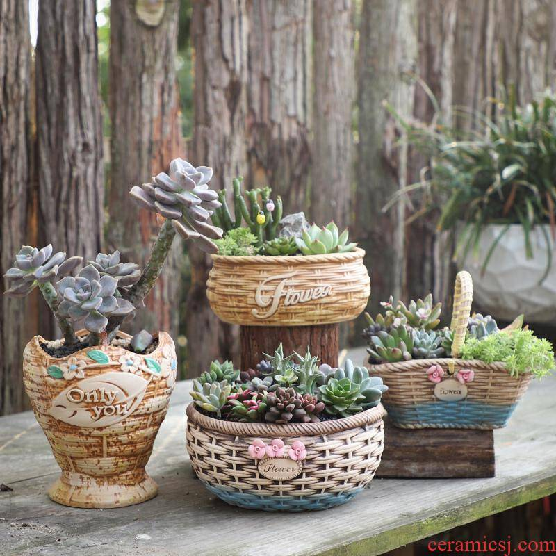 Ceramic pot bamboo has style originality more meat flowerpot more meat meat plant POTS coarse pottery special large clearance