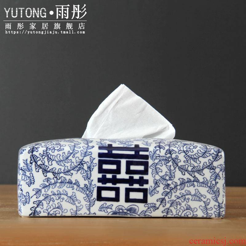 Jingdezhen blue and white porcelain tissue boxes sitting room tea table happy character creative desktop napkin box home sitting room is contracted