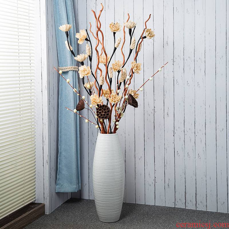 Gagarin ground ceramic vase large dry flower is placed white Nordic flower arrangement of I and contracted sitting room adornment
