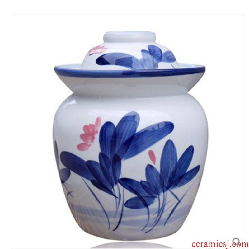 3 catty eight jins of jingdezhen ceramic storage pickle jar jar airtight jar of pickles pickled the salty cylinder double cover a water seal