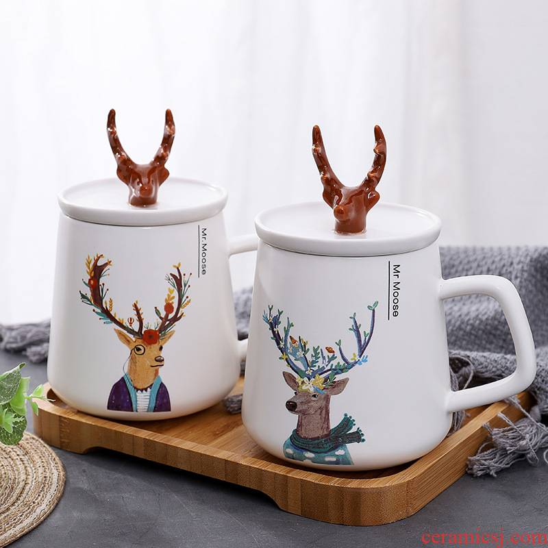 The kitchen Nordic INS creative antlers ceramic cup with cover cartoon keller student picking cups of coffee cup