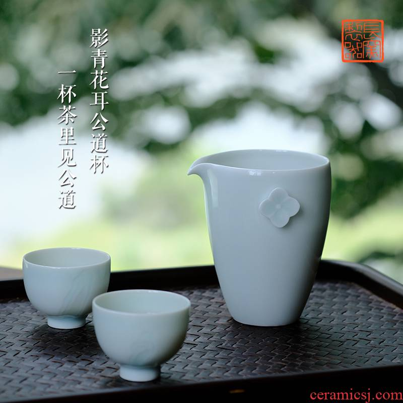 Long up in making those offered home - cooked shadow blue flower fair cup tea tea jingdezhen tea art ceramics by hand