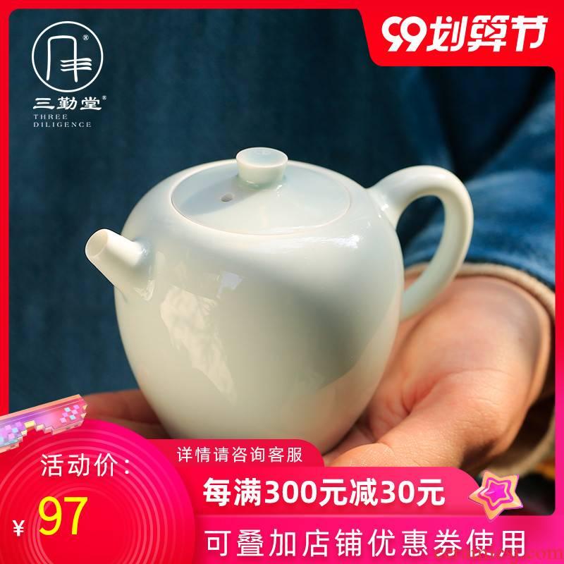 The three regular white porcelain little teapot ceramic filter single pot teapot tiny home office of jingdezhen tea service