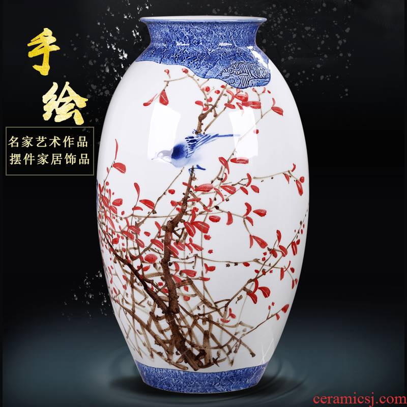 Jingdezhen ceramic hand - made vases furnishing articles household act the role ofing is tasted flower decoration in the sitting room TV cabinet decoration 50 high