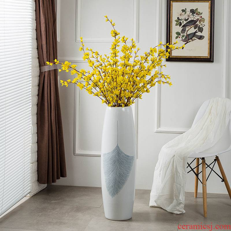 European jingdezhen ground vase large I and contracted white ceramic household decorates sitting room place flower arrangement