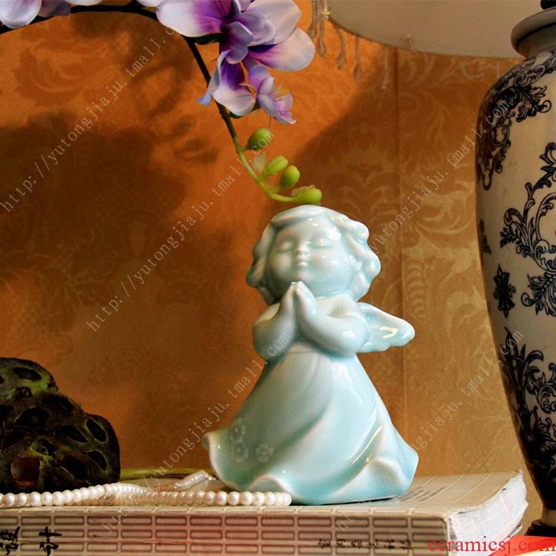 Jingdezhen manual shadow celadon creative home furnishing articles European angel furnishing articles ceramic crafts