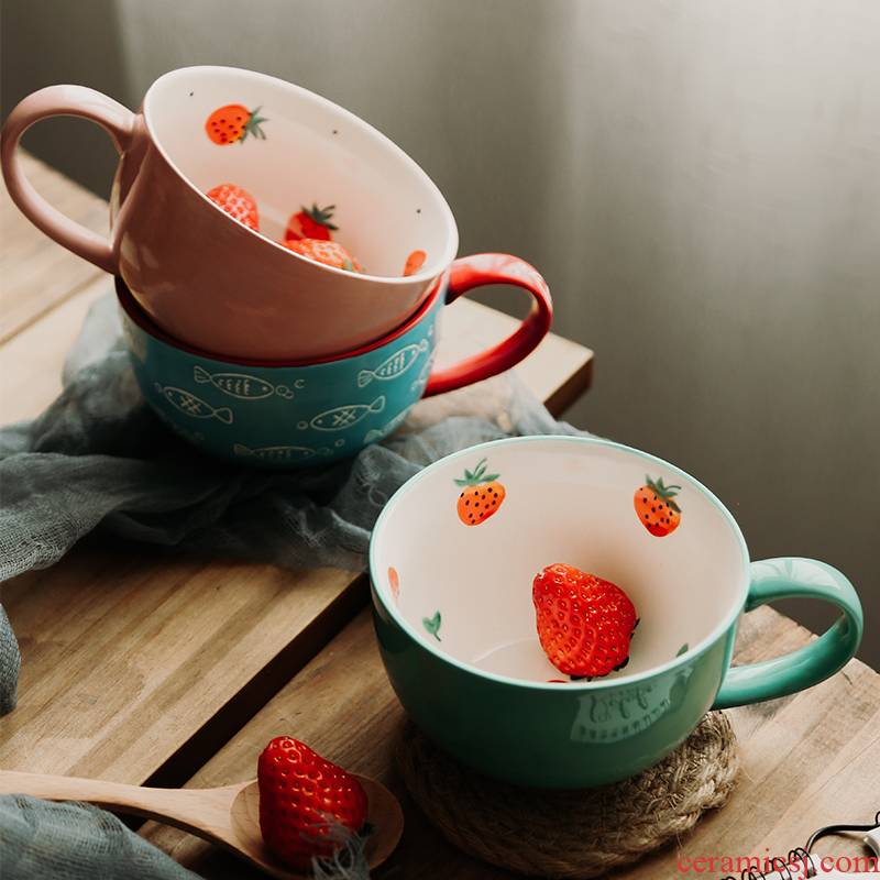Creative cup milk cup picking cups of rural household breakfast cup dream what flower mugs ceramic cup