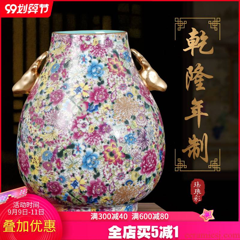 Archaize of jingdezhen ceramics powder enamel flower ear vase Chinese style porch sitting room adornment is placed TV ark
