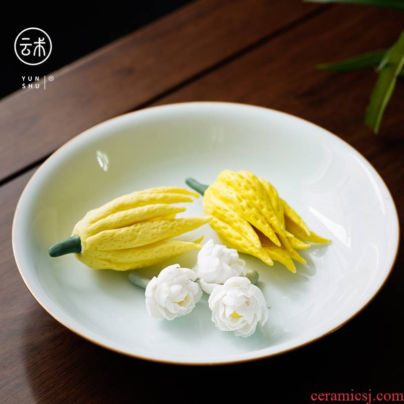 Cloud art of jingdezhen pure manual hand knead chayote simulation ceramics bergamot kunfu tea pet furnishing articles tea accessories
