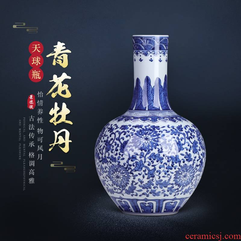 Archaize of jingdezhen blue and white porcelain vase is placed large Chinese wind Chinese style living room TV cabinet decoration porcelain flower arrangement