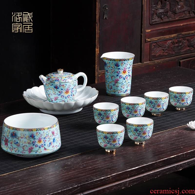 Colored enamel kung fu tea set a visitor household dry terms plate of jingdezhen ceramic high - grade tea teapot teacup