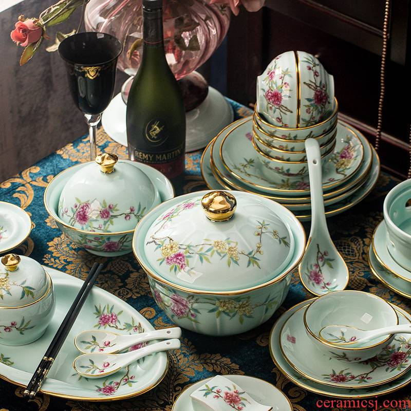 Jingdezhen Jingdezhen celadon tableware suit household of Chinese style up phnom penh dishes combine high - end dishes rich flower
