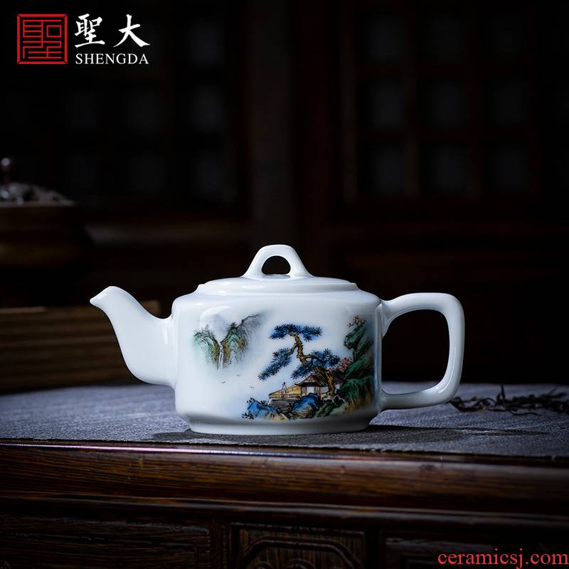 Holy big pure hand - made ceramic kung fu tea pot teapot pastel pine lushan mountain water four penghu - glance jingdezhen tea by hand